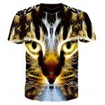 cheap Gleamy 3D Tiger Print Round Neck Short Sleeves T-Shirt For Men