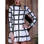 Trendy Round Neck Long Sleeve Plaid Dress For Women