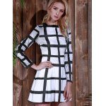 Trendy Round Neck Long Sleeve Plaid Dress For Women for sale