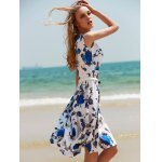 Vintage Sleeveless Floral Printed Belted Dress deal