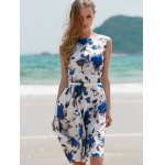 cheap Vintage Sleeveless Floral Printed Belted Dress