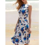 Vintage Floral Sleeveless Midi Swing Dress