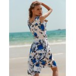 Vintage Sleeveless Floral Printed Belted Dress for sale