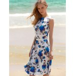 best Vintage Sleeveless Floral Printed Belted Dress