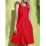 cheap Vintage Scoop Collar Sleeveless Solid Color Women's Midi Dress
