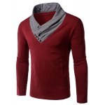 Men's Slim Fit Special Neck Long Sleeves Color Block T-Shirt