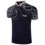 Stand Collar Floral Printing Short Sleeve Men's T-Shirt