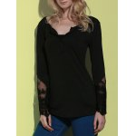 cheap Simple Style Back Slit Lace Spliced Bodycon T-Shirt For Women