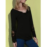 Simple Style Back Slit Lace Spliced Bodycon T-Shirt For Women deal