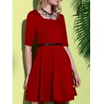 Stylish Square Neck Half Sleeve Pure Color Women's A-Line Dress