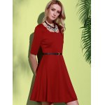 cheap Stylish Square Neck Half Sleeve Pure Color Women's A-Line Dress