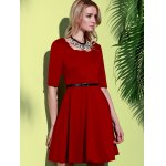 Stylish Square Neck Half Sleeve Pure Color Women's A-Line Dress deal