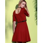 best Stylish Square Neck Half Sleeve Pure Color Women's A-Line Dress