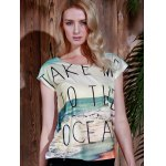 cheap Casual Scoop Neck Beach Print Short Sleeve T-Shirt For Women
