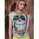 cheap Stylish Scoop Neck Owl Print Short Sleeve T-Shirt For Women