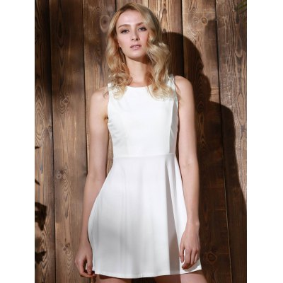 Stylish Round Collar Sleeveless A-Line Dress For Women