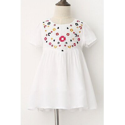 Short Sleeve Embroidered Mini A-Line Dress For Girl