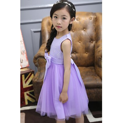 sweet-square-neck-bowknot-rhinestoned-girl-dress