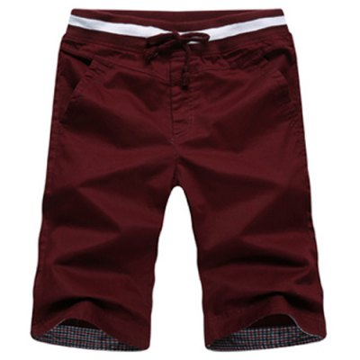 Classic Checked Spliced Lace-Up Straight Leg Shorts For Men