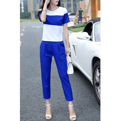 Trendy Short Sleeve Color Block Chiffon T-Shirt and Ankle Pants Twinset For Women