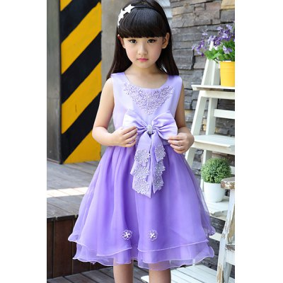 Sweet Scoop Neck Sleevelss Bowknot Embellished Girl's Dress