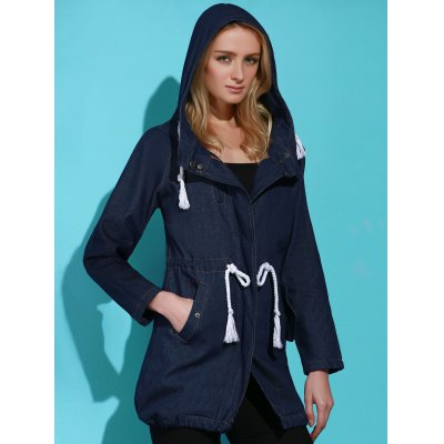 Stylish Hooded Long Sleeve Drawstring Women's Mid Length Coat