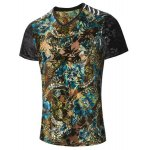 cheap Plus Size V-Neck PU Leather Spliced Floral Print Short Sleeve T-Shirt For Men
