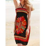 Bohemian Halter Sleeveless Women's Floral Dress