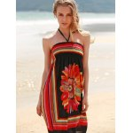 cheap Bohemian Halter Sleeveless Women's Floral Dress