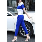 cheap Trendy Short Sleeve Color Block Chiffon T-Shirt and Ankle Pants Twinset For Women