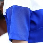 Trendy Short Sleeve Color Block Chiffon T-Shirt and Ankle Pants Twinset For Women deal