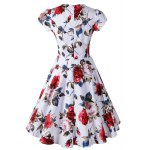 cheap Knee Length Floral Flare Pin Up Dress