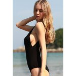 Stylish Plunging Neck Black Cut Out Women's One-Piece Swimwear for sale