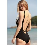 best Stylish Plunging Neck Black Cut Out Women's One-Piece Swimwear