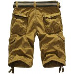 cheap Loose Fit Straight Leg Multi-Pocket Lacing Cuffs Zipper Fly Shorts For Men