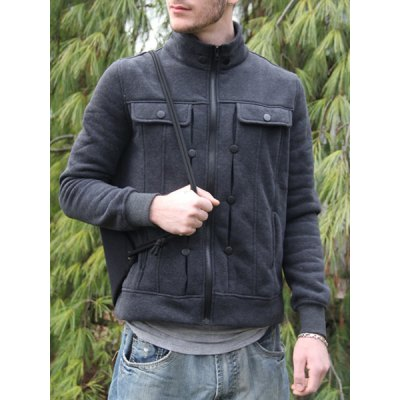 Stylish Turndown Collar Slimming Pocket and Button Design Long Sleeve Polyester Sweatshirt For Men
