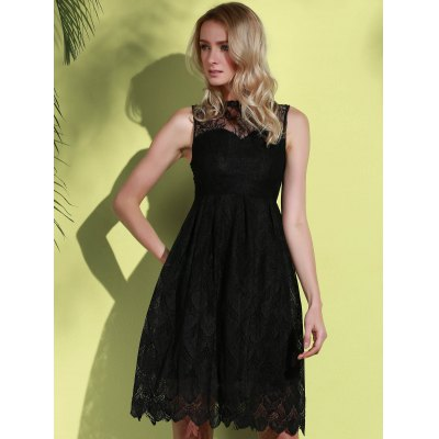 Round Neck Sleeveless Solid Color Hollow Out Lace Dress