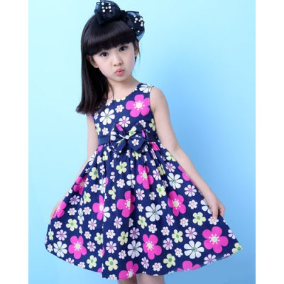 Cute Sleeveless Round Neck Floral Print Girl's Dress