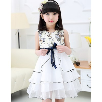 Sweet Scoop Neck Bowknot Design Floral Print Girl's Dress