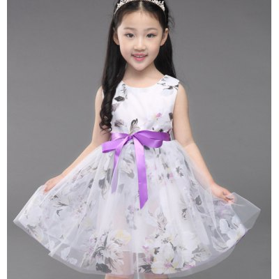 Sleeveless Bowknot Design Floral Print Girl's Ball Gown Dress