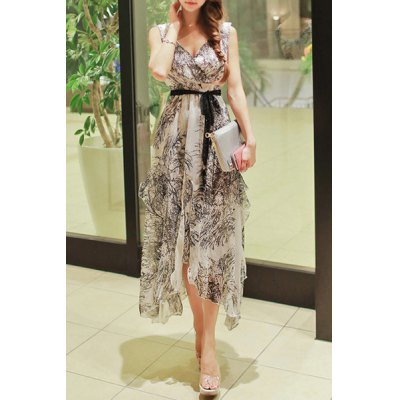 Elegant Sleeveless Printed High Waist Belted Asymmetric Dress For Women