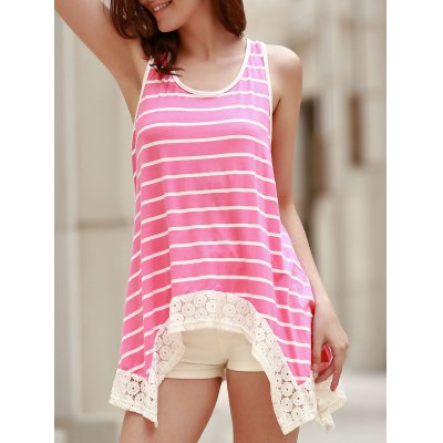 Scoop Neck Sleeveless Striped Bowknot Design Tank Top