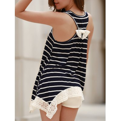 Chic Scoop Neck Sleeveless Striped Bowknot Design Women's Tank Top
