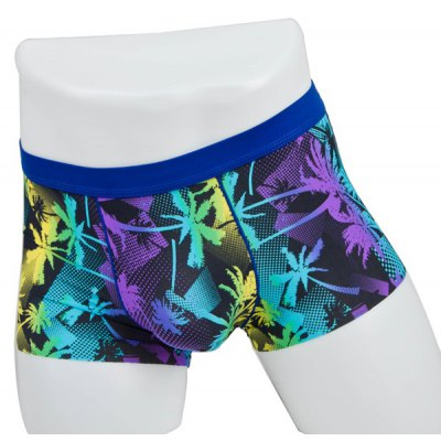 Elastic Waist Coconut Tree Printed Comfortable Boxer Brief For Men