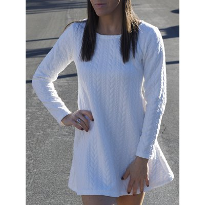 Scoop Neck Long Sleeve Pure Color Knitted A-Line Dress