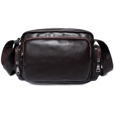 Leisure PU Leather and Zippers Design Messenger Bag For Men