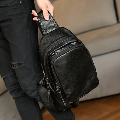 Concise PU Leather and Black Colour Design Messenger Bag For Men