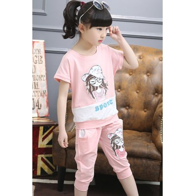 Sweet Short Sleeve Cartoon Pattern Print T-Shirt + Pants Girls TwinsetKids Swimwear<br>Sweet Short Sleeve Cartoon Pattern Print T-Shirt + Pants Girls Twinset<br><br>Material: Polyester<br>Clothing Length: Regular<br>Sleeve Length: Short<br>Style: Fashion<br>Pattern Style: Character<br>Weight: 0.400 kg<br>Package Contents: 1 x T-Shirt  1 x Pants