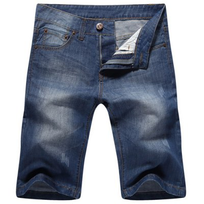 Zip Fly Straight Legs Denim Shorts For Men