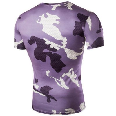 Camo Argyle Print Air Permeable Round Neck Shorts Sleeves T-Shirt For Men